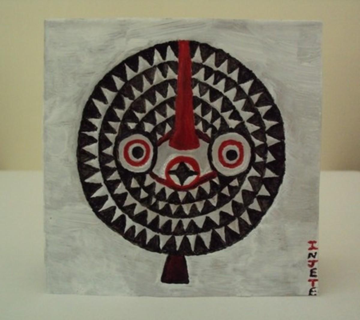Bwa Sun Mask: Handmade Miniature Metal Art Cards