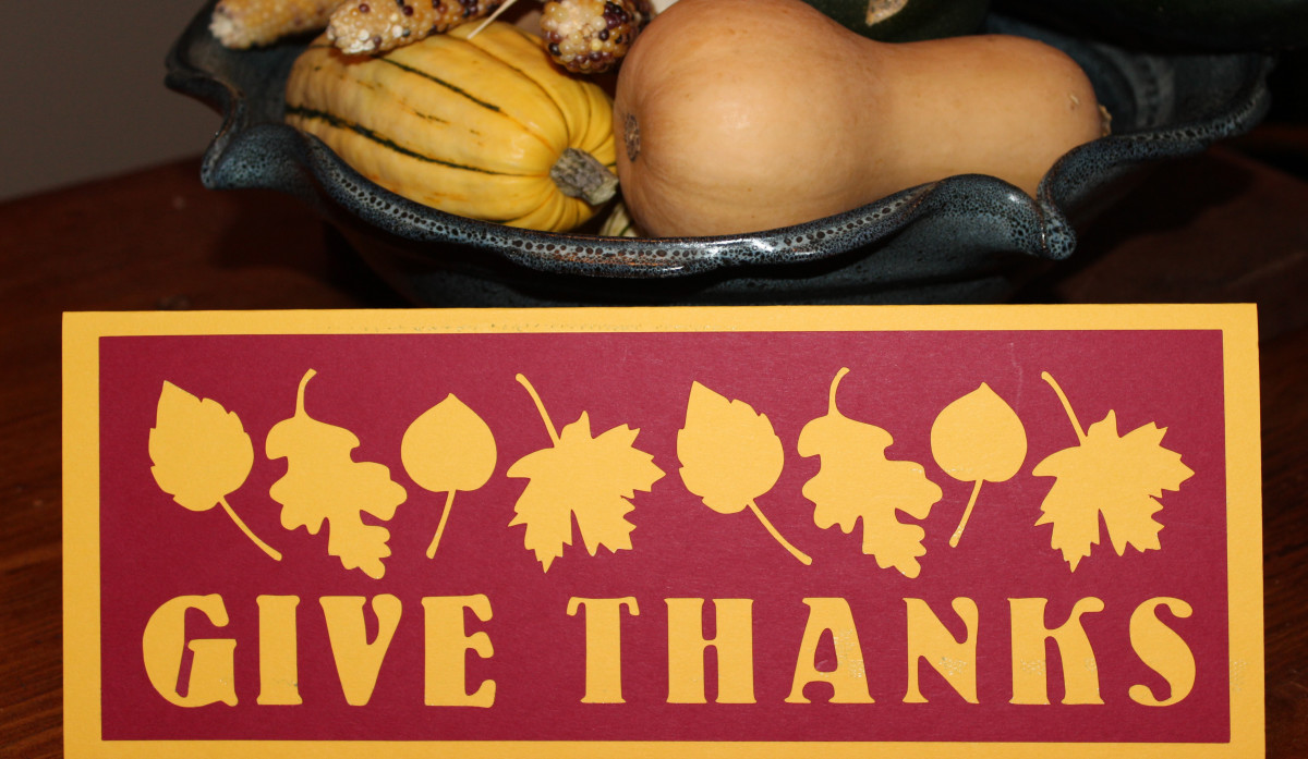 Give Thanks cutout letters and leaves