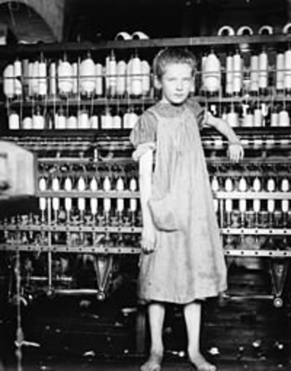 Children working in the mills in the North