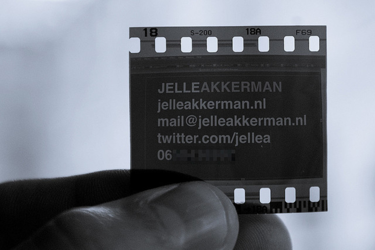 These business cards consist of a 'screenshot' of Illustrator on a 35mm negative. Fun and unique idea.