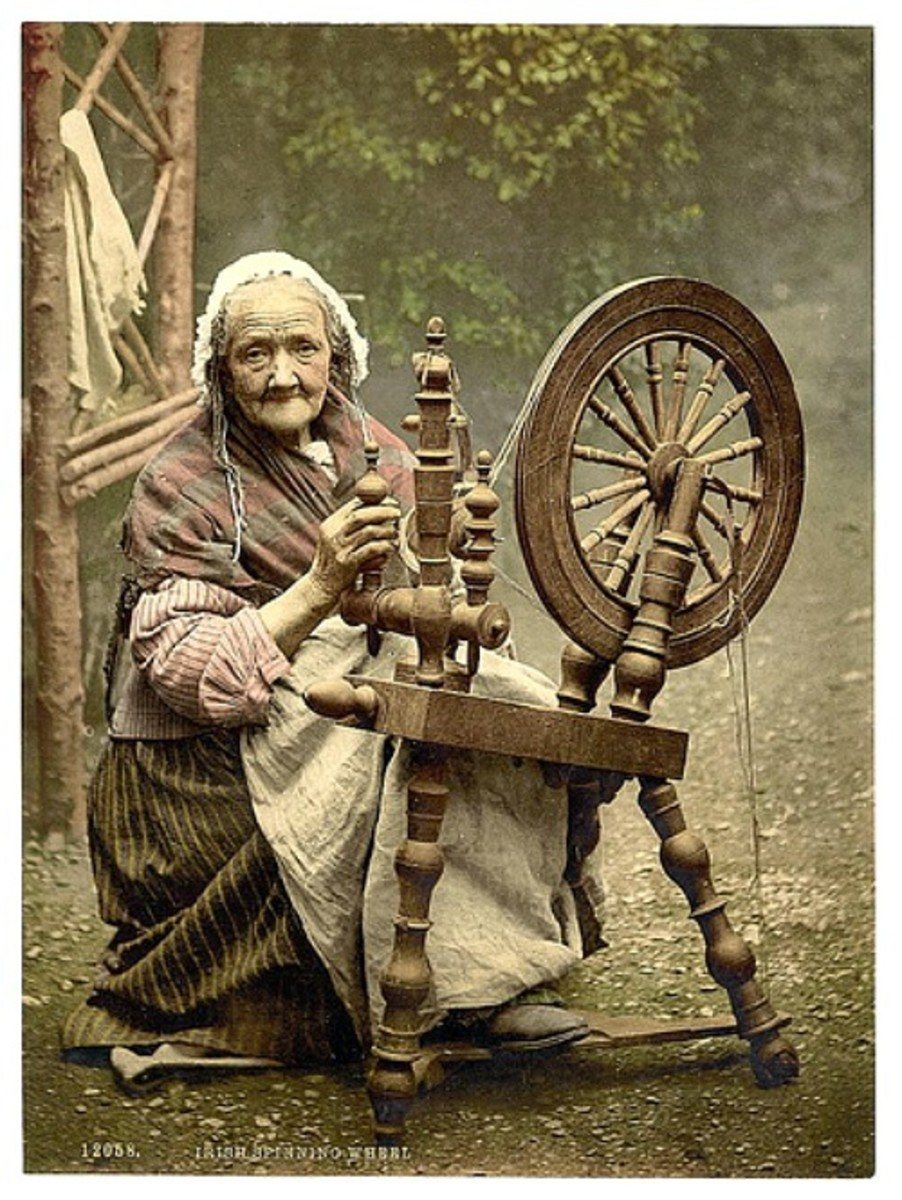 Old Irish Woman Spinning