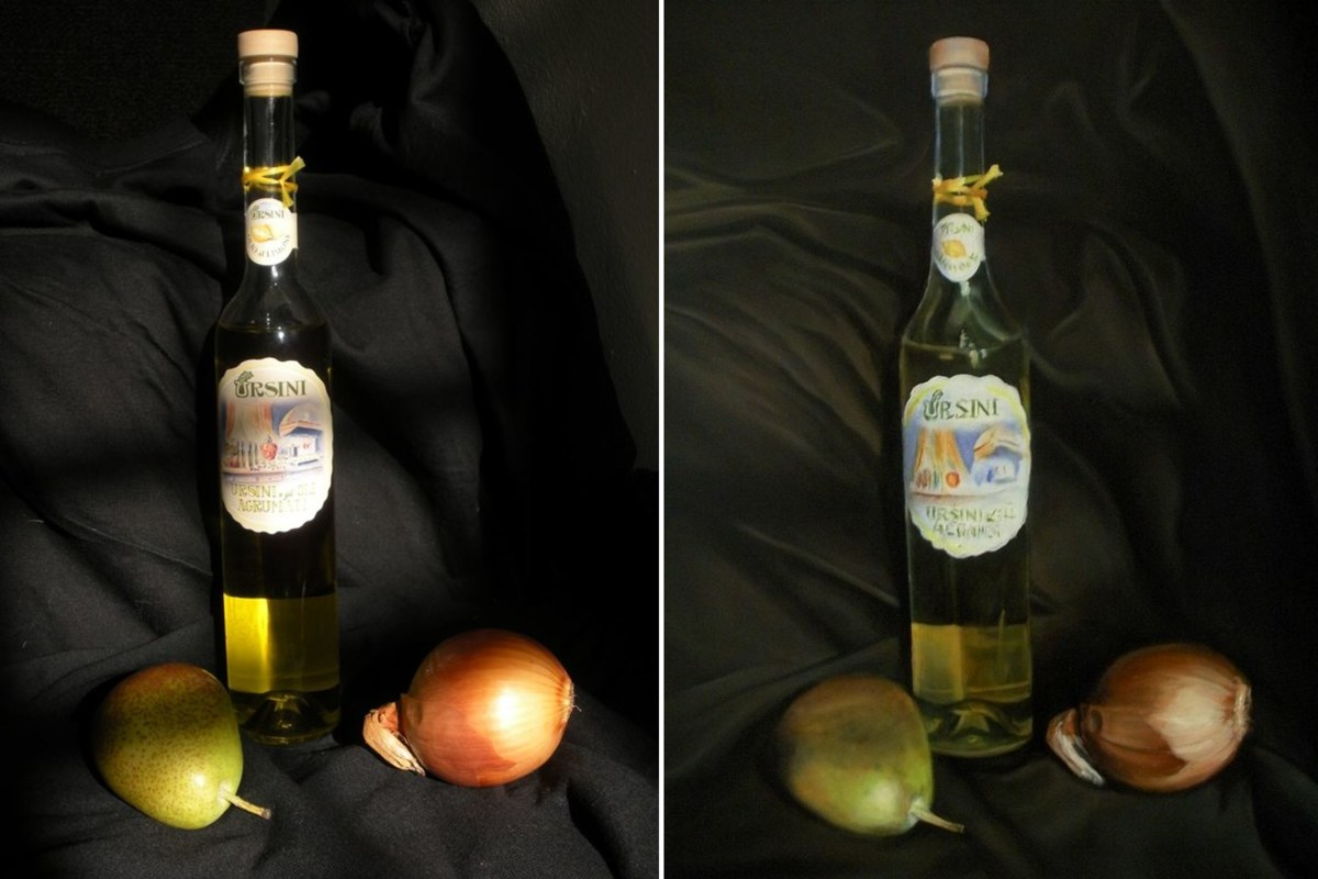 "My original oil painting, ""Still Life with Olive Oil Bottle"" (right) and the original photographic reference I used to complete it (left)."