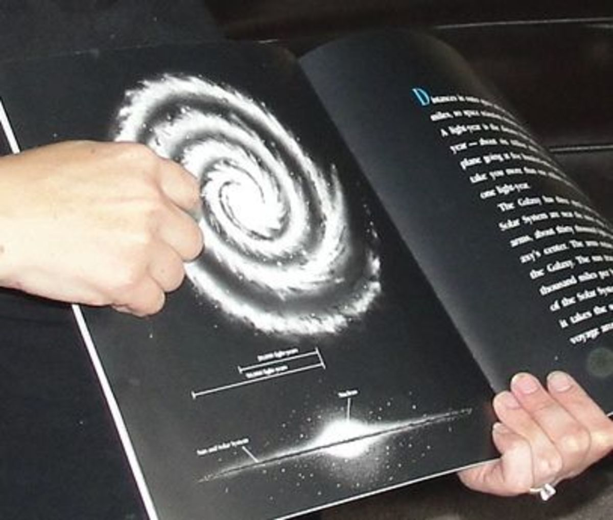 Showing the children the picture of the Milky Way Galaxy from the book Galaxies by Seymour Simon