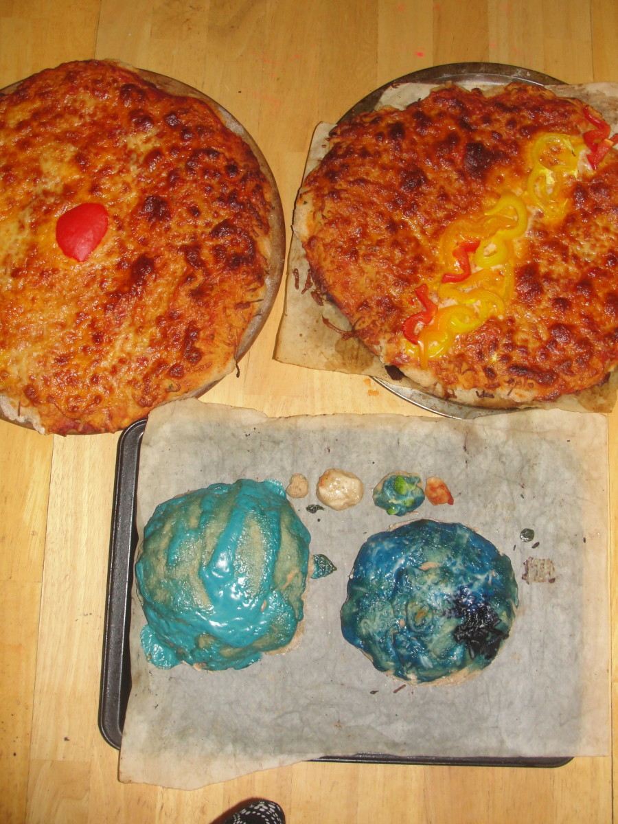 One set of the baked planet pizzas