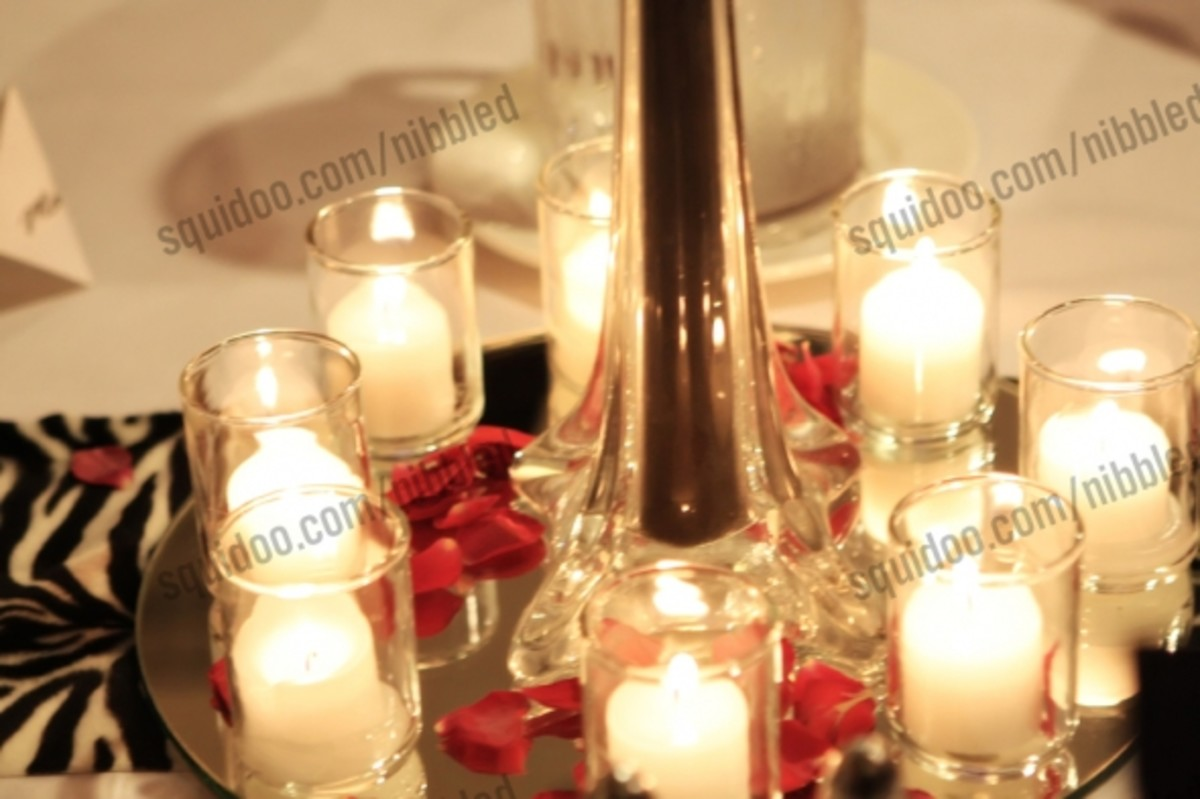 Candle and Mirror Wedding Centerpiece