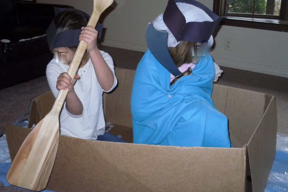 Dramatization of Washington crossing the Delaware from the American War for Independence Unit