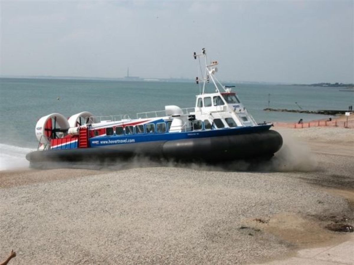 Hovertravel Freedom 90 crossing the beach at the Hovercraft Museum, Lee On Solent