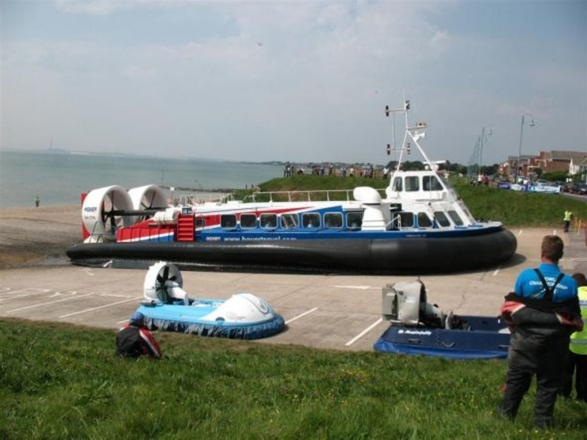 Hovertravel Freedom 90 just arrived at the Hovercraft Museum, Lee On Solent