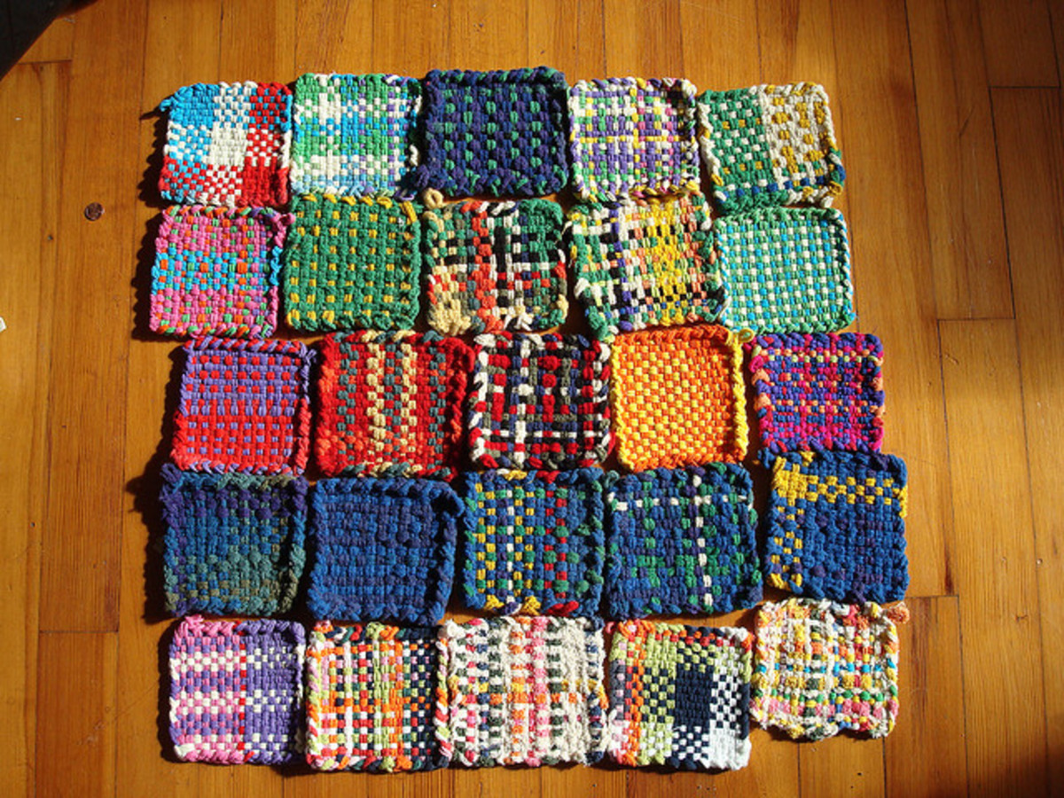 Weaving on potholder looms produce woven squares which can be used as coasters or potholders, or joined together to make scarves, dishcloths, blankets etc.