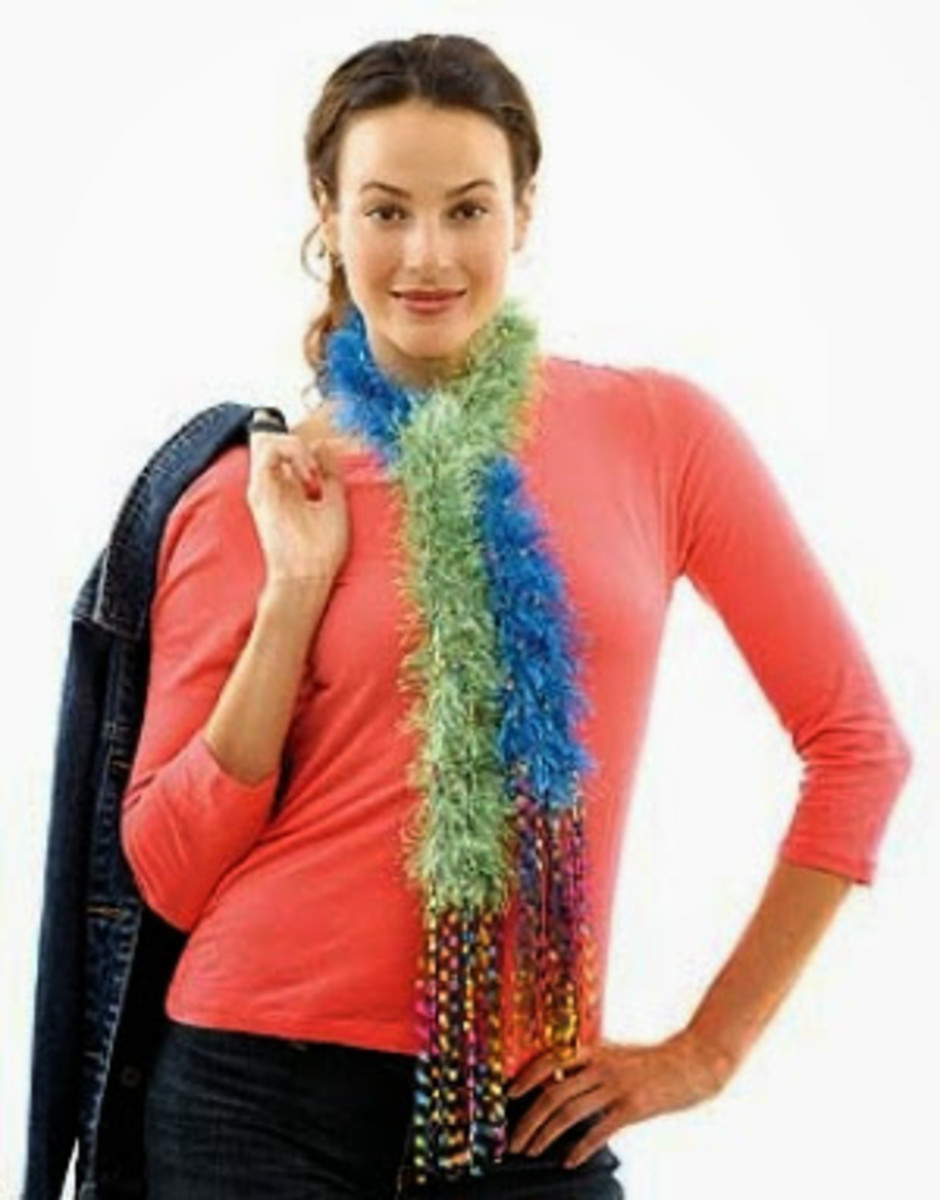 Knifty Knitter Fun Fur Skinny Scarf Pattern for the Flower Loom