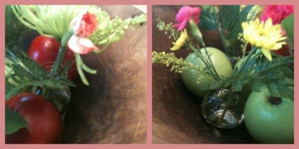 Easy floral arranging in a wooden bowl (photos by me!)