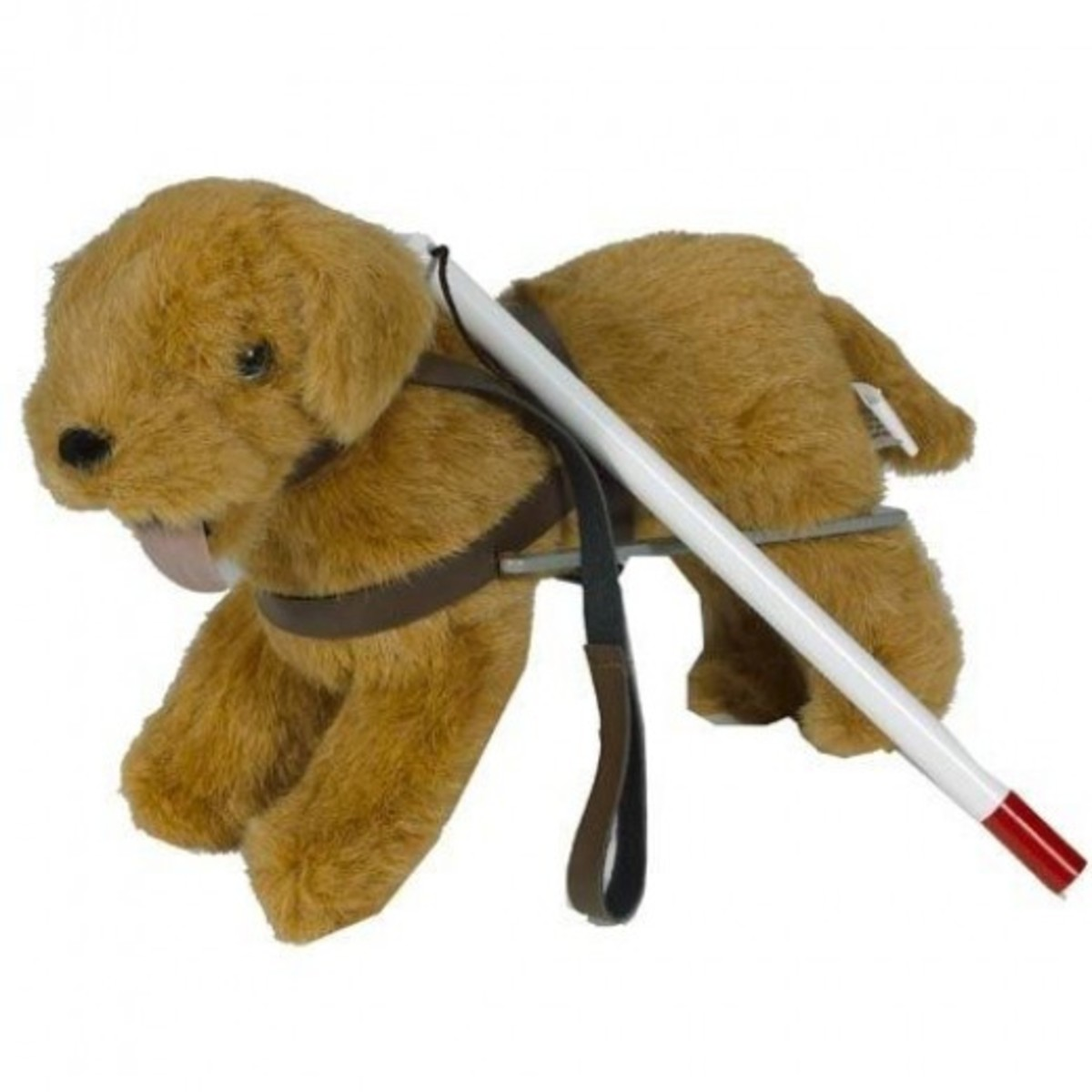 "plush dog guide and white cane for use with 16"" dolls"