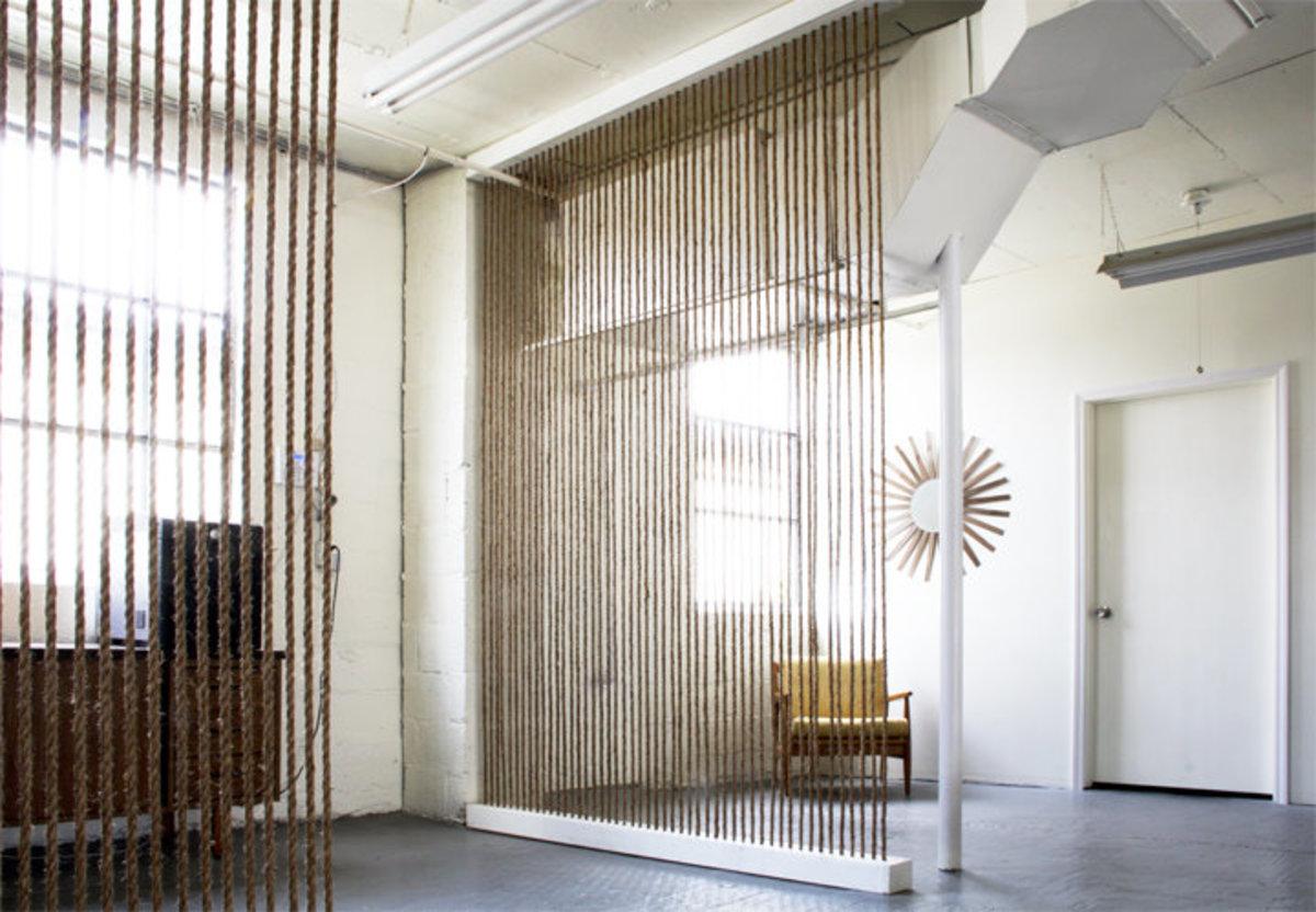 Room Dividers - DIY Rope Wall via The Brick House