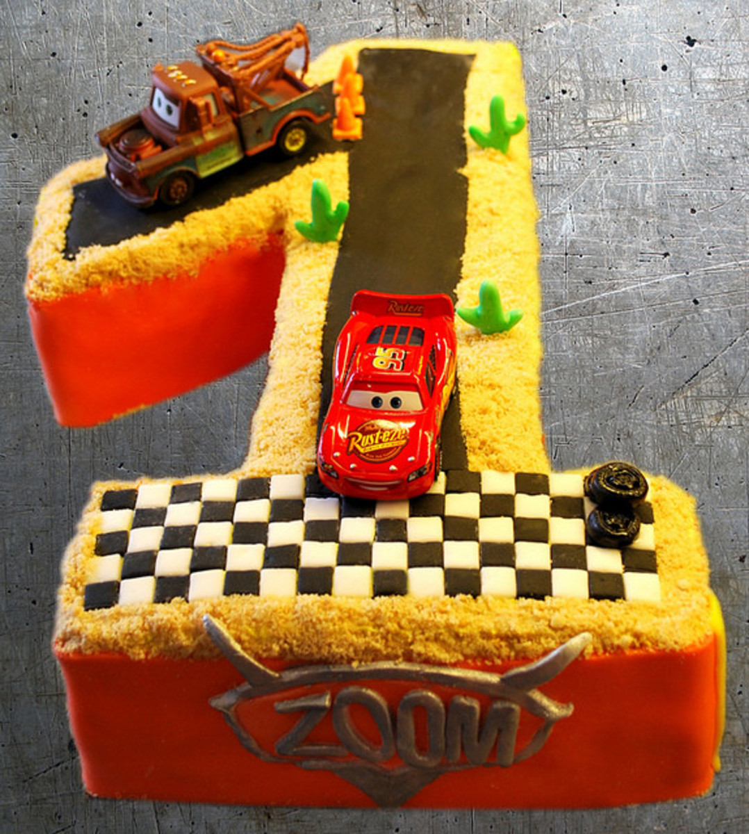 Disney Cars Cake in shape of number 1.