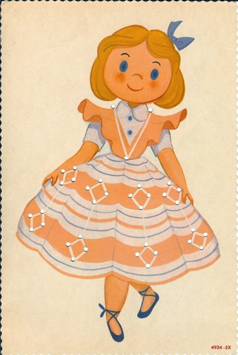Curtsey girl with blue bow lacing card. Source:  Lulu.com (A clickable link is provided in the introduction paragraph above.)