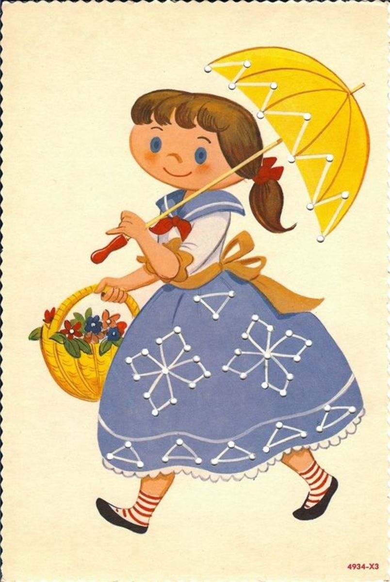 Umbrella girl sewing card. Source:  Lulu.com (A clickable link is provided in the introduction paragraph above.)