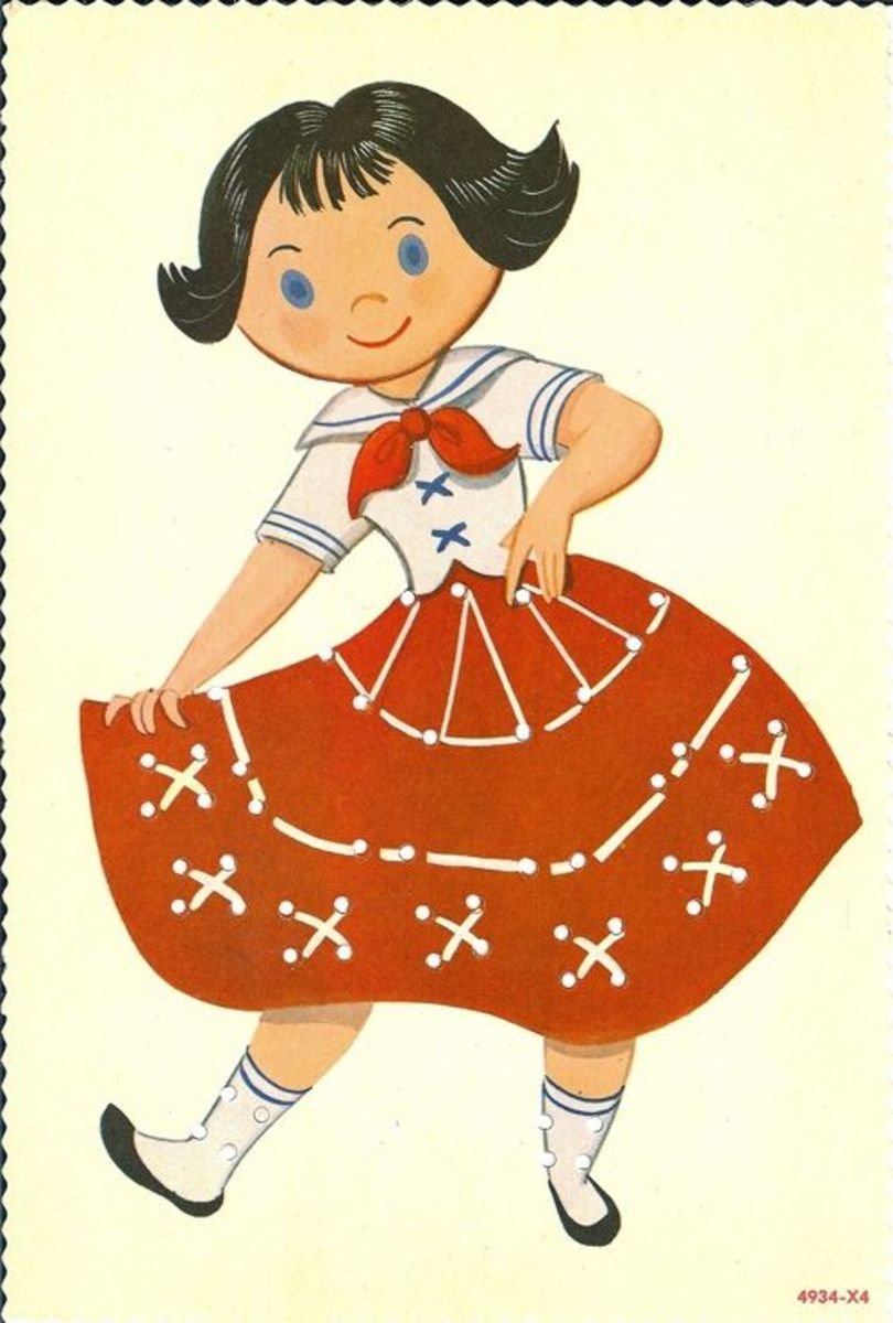 Girl in red skirt sewing card. Source:  Lulu.com (A clickable link is provided in the introduction paragraph above.)