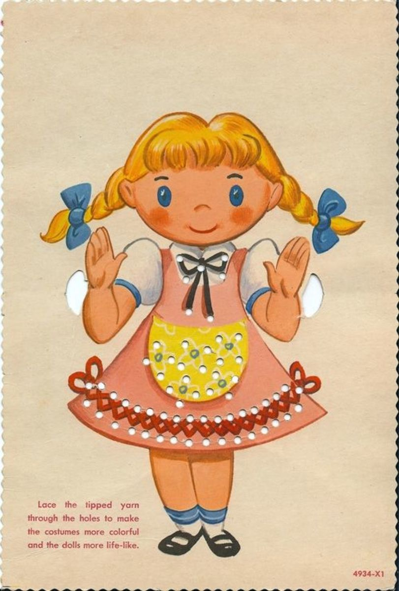 Girl with pigtails lacing card. Source:  Lulu.com (A clickable link is provided in the introduction paragraph above.)
