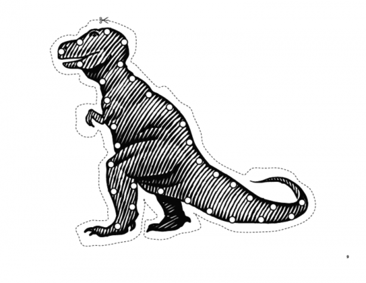 Dinosaur sewing card. Source:  Happy Hearts at Home