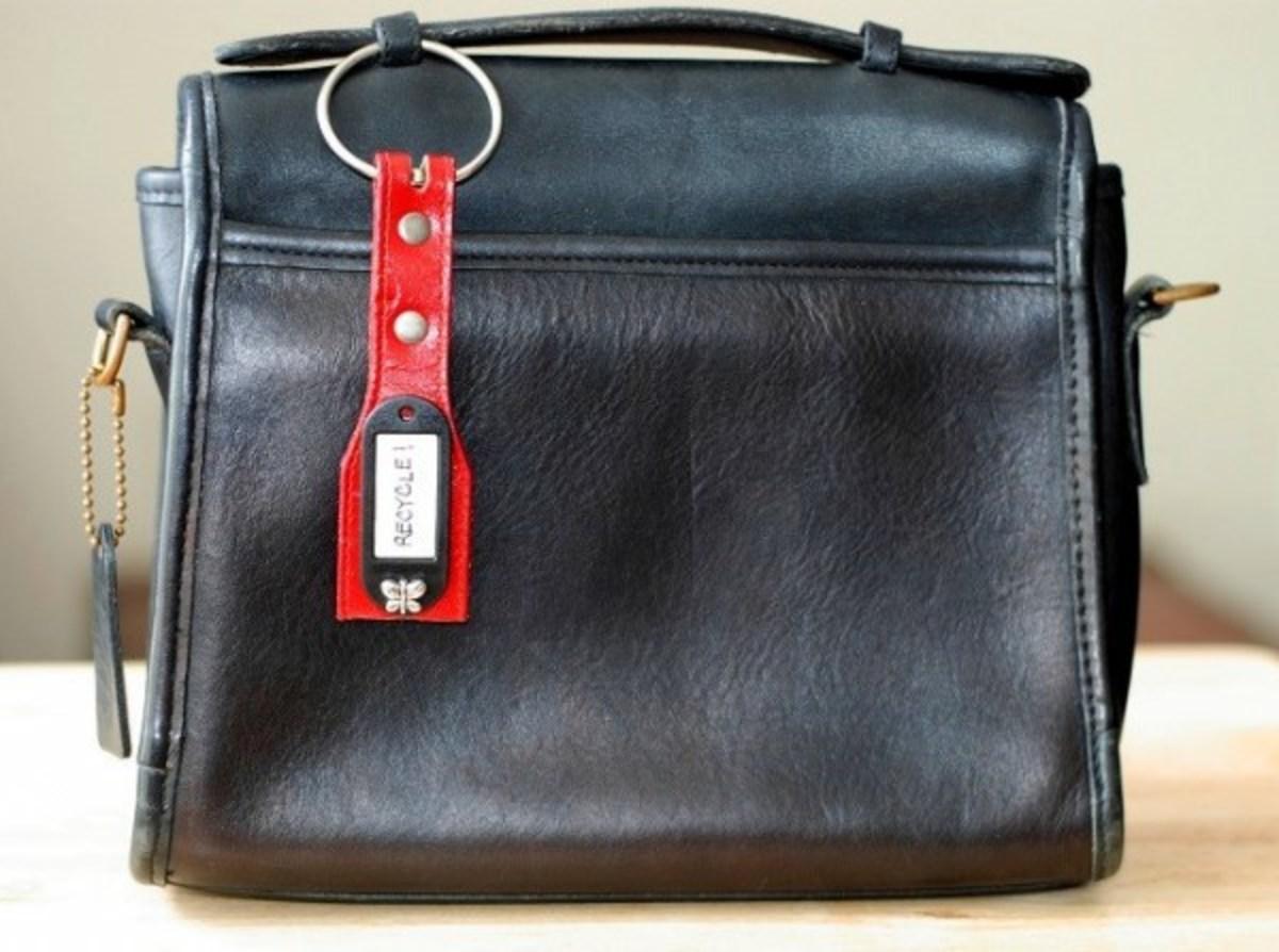 Up cycle Leather Bag Tag via Manhandslizzie