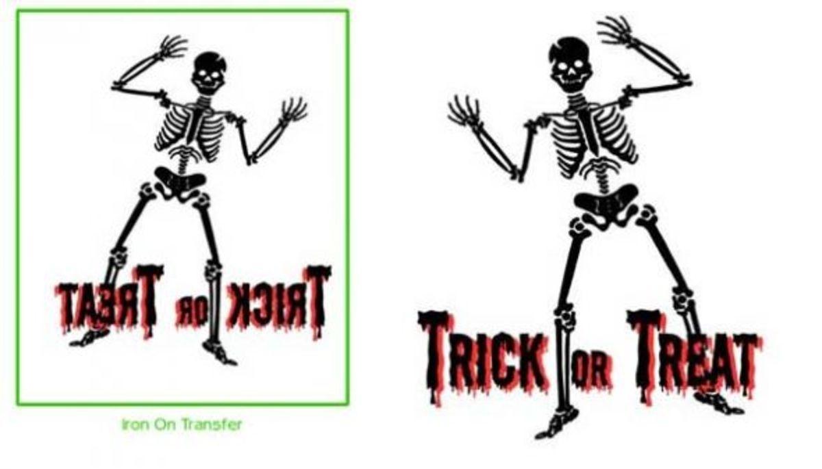Skeleton iron on transfer sample, free printable