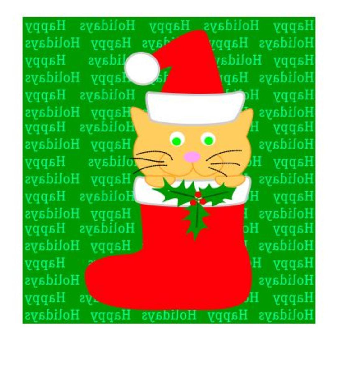 Christmas Iron On, Kitty in Stocking