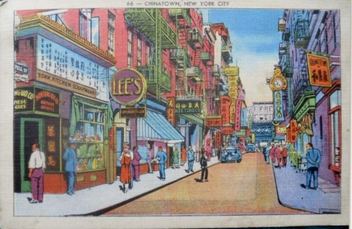 Chinatown, NY -Linen Finish Postcard