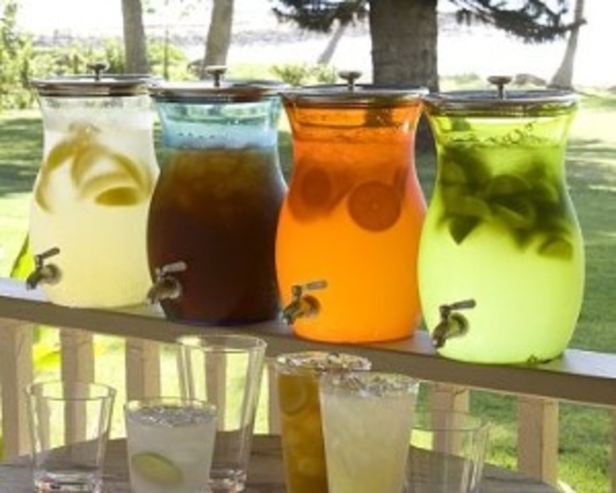 Beautifully Displayed Drinks with Floating Fruit