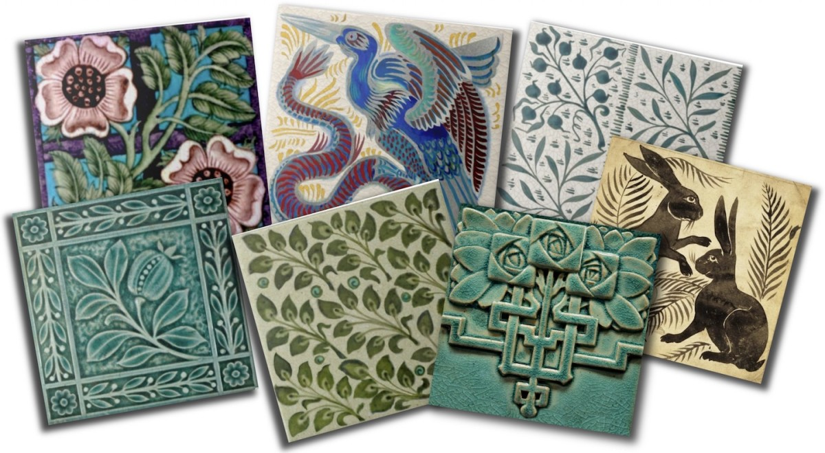 A selection of reproduction Arts & Crafts pottery tiles including designs by William Morris, William De Morgan, and others. All are reproductions from original antique tiles in a personal collection.