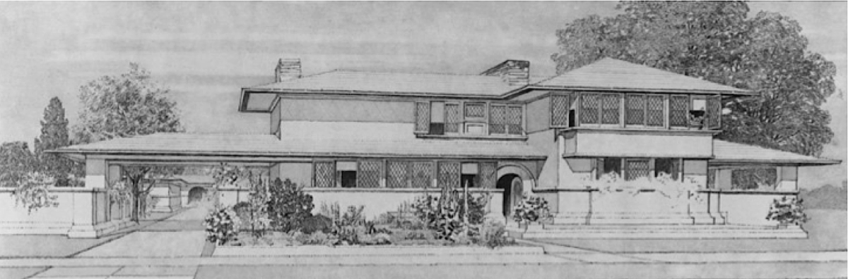 Prairie House Drawing by Frank Lloyd Wright, circa 1895-1910.