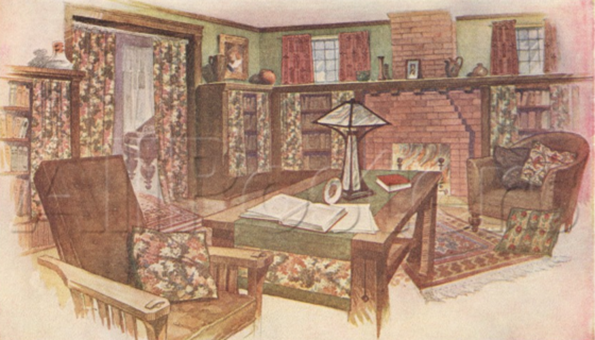 Note the portieres in the doorway and the linearity of the furnishings. (The watermark does not appear on actual posters but is to deter unauthorized use of allposters images. It is used here with permission.)