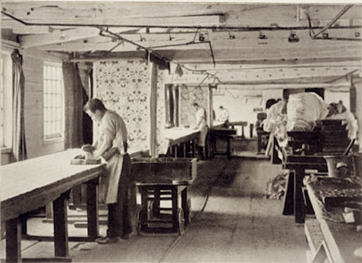 Workers printing chintz by hand at the William Morris Works at Merton Abbey