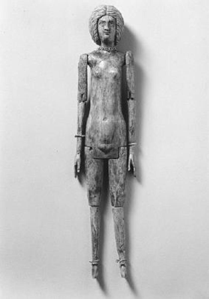 Ivory doll, with a gold necklace, found at Tivoli in the tomb of Cossinia, a vestal for 66 years.