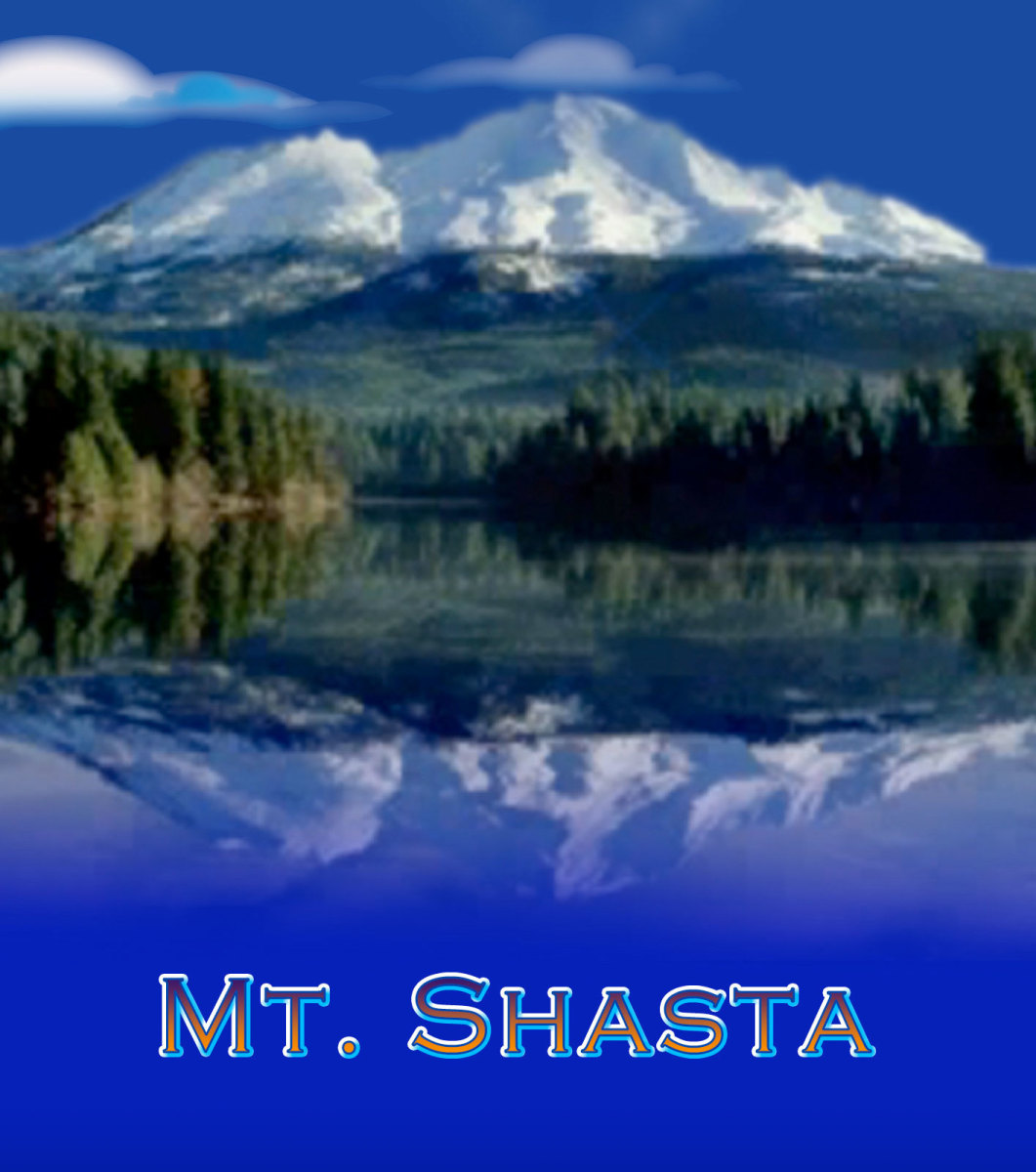 A manipulated photo of Mt. Shasta, a city named Telos is said to be beneath the mountain and his home to the Lemurians. Often described as a spiritual place on Earth.