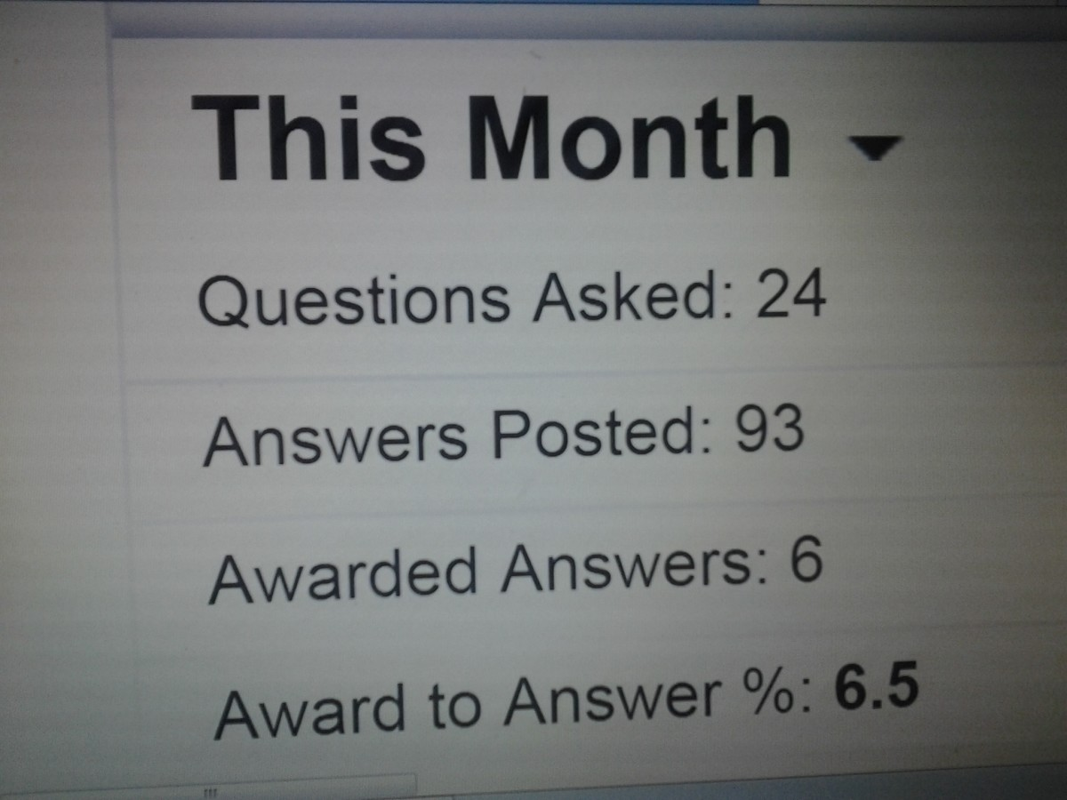 My stats from WebAnswers.com for one month