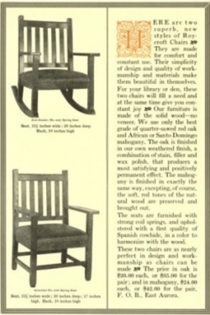 An advertisement for wood chairs with Spanish leather seats made by the Roycrofters. The price is listed as $20.00 each or $35.00 for the pair in oak. Mahogany cost $24.00 each and $42.00 for the pair.