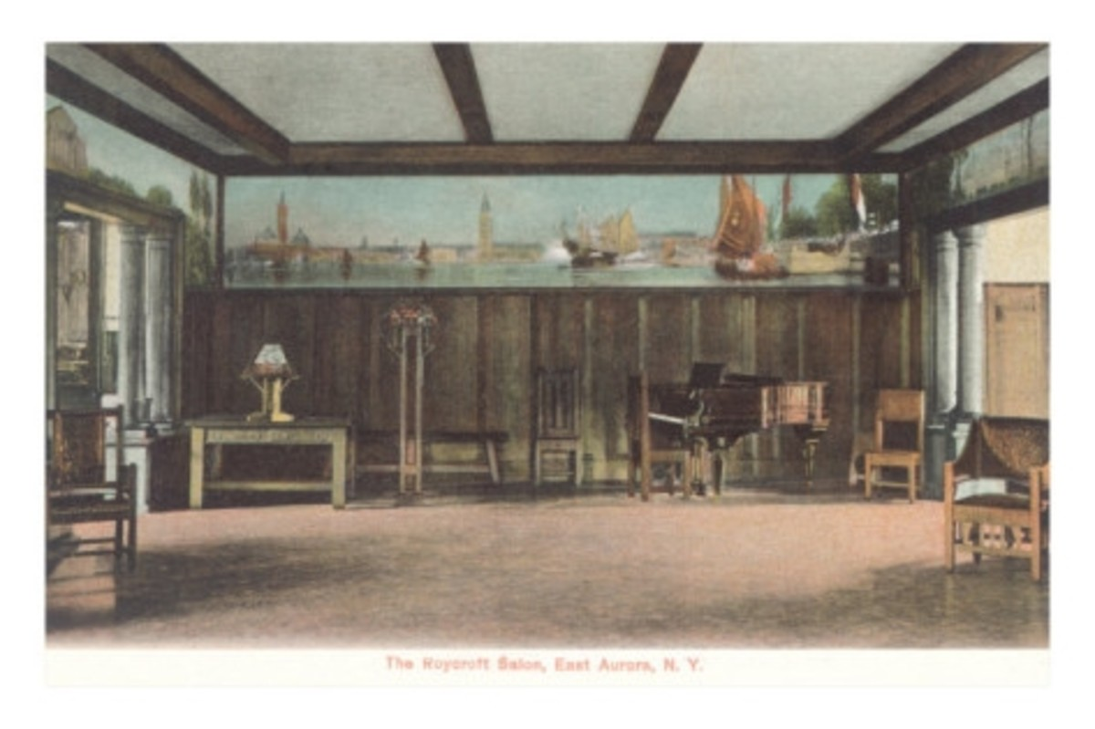 A Roycroft Arts and Crafts Interior in Aurora, NY. From a vintage postcard.