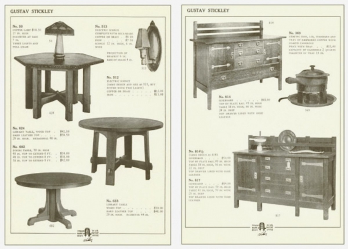 Stickley furniture catalog pages.