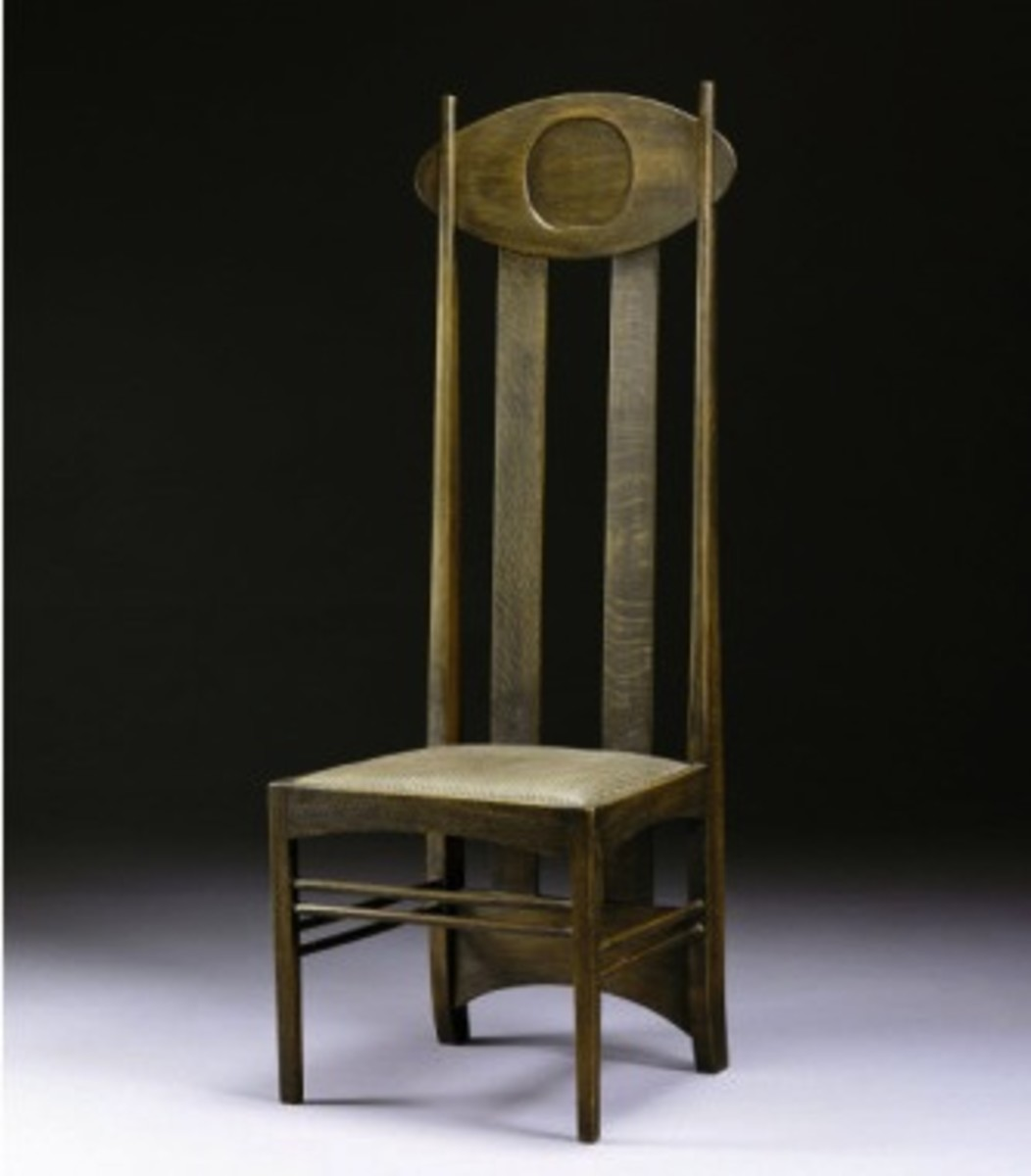 High-Back Oak Chair by Charles Rennie Mackintos circa 1898.