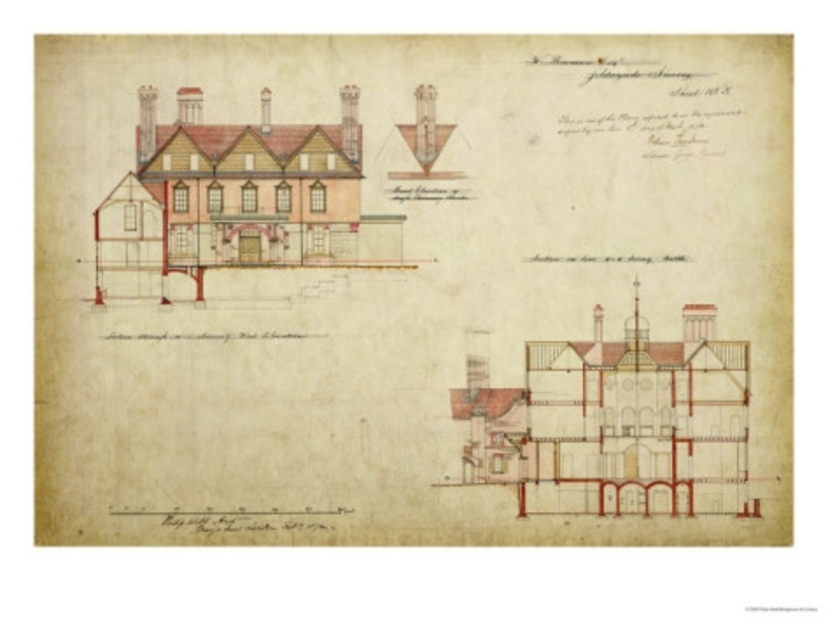 Philip's Webb's plans for the Red House, Bexley Heath, designed for William Morris.
