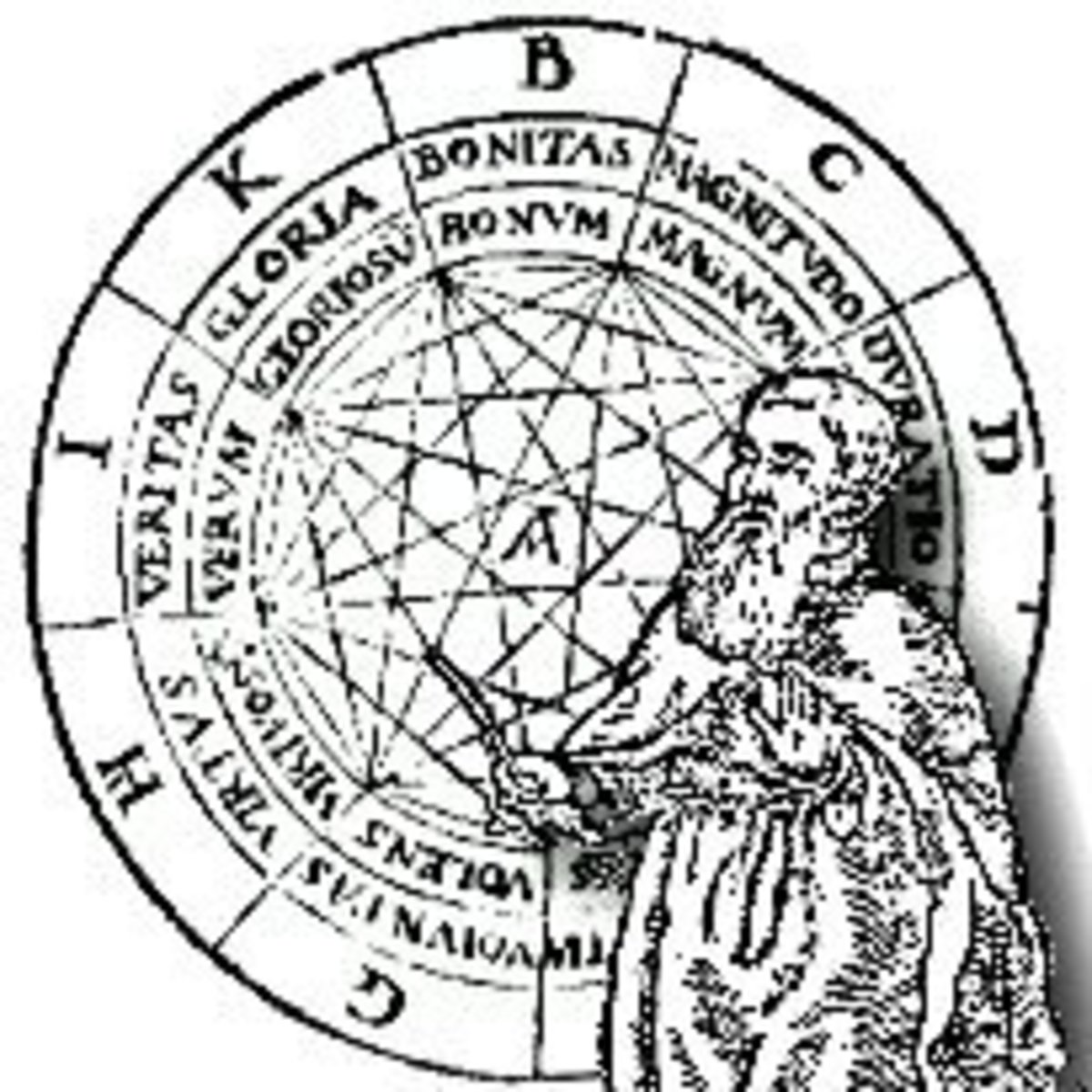 Ramon Llull was the first writer to use the terms and symbols associated with passions, vices, virtues and holy ideas and to place them around a nine pointed diagram surrounded by a circle