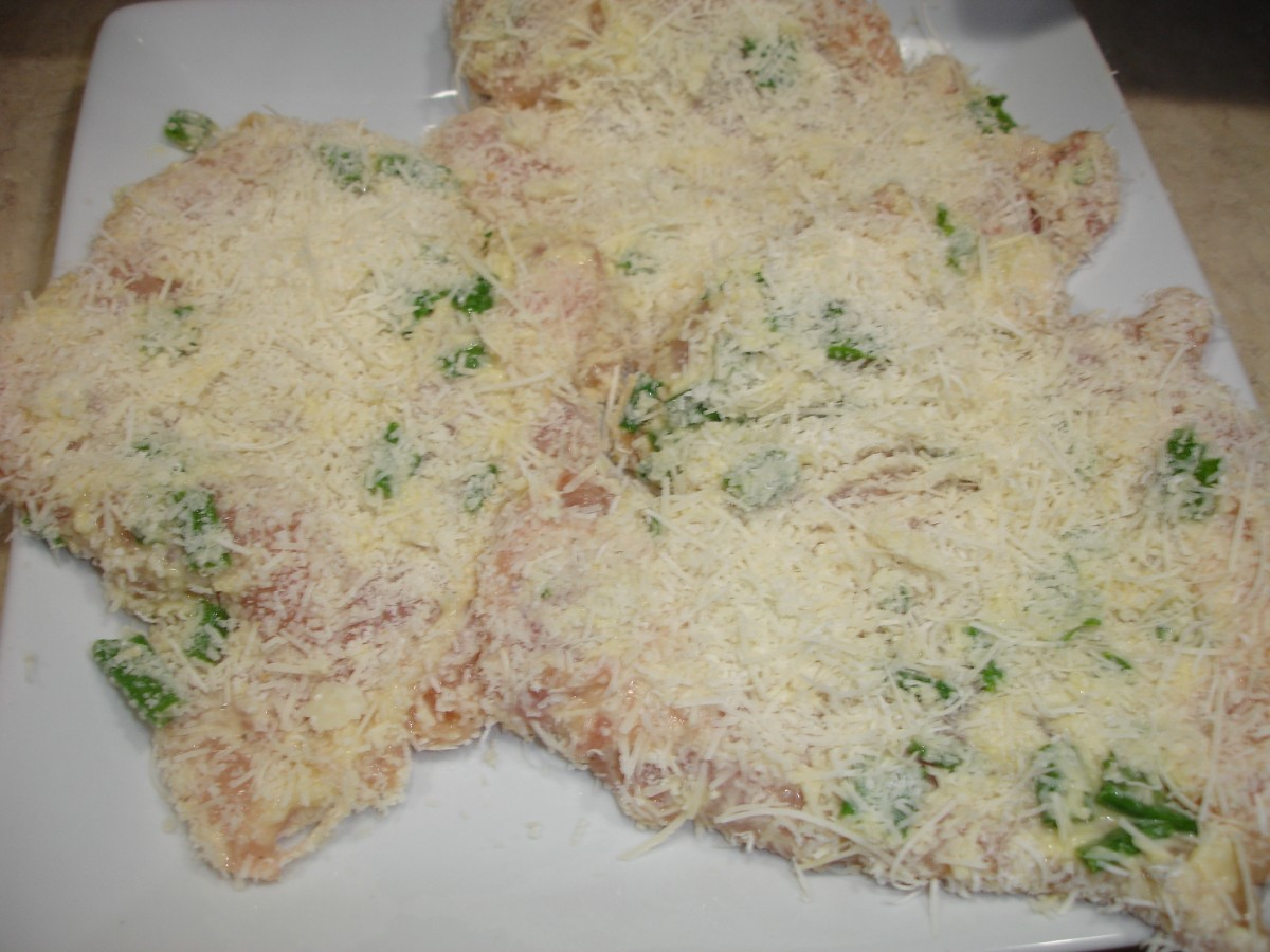 Longhorn's Garlic Parmesan Crusted Chicken before cooking.