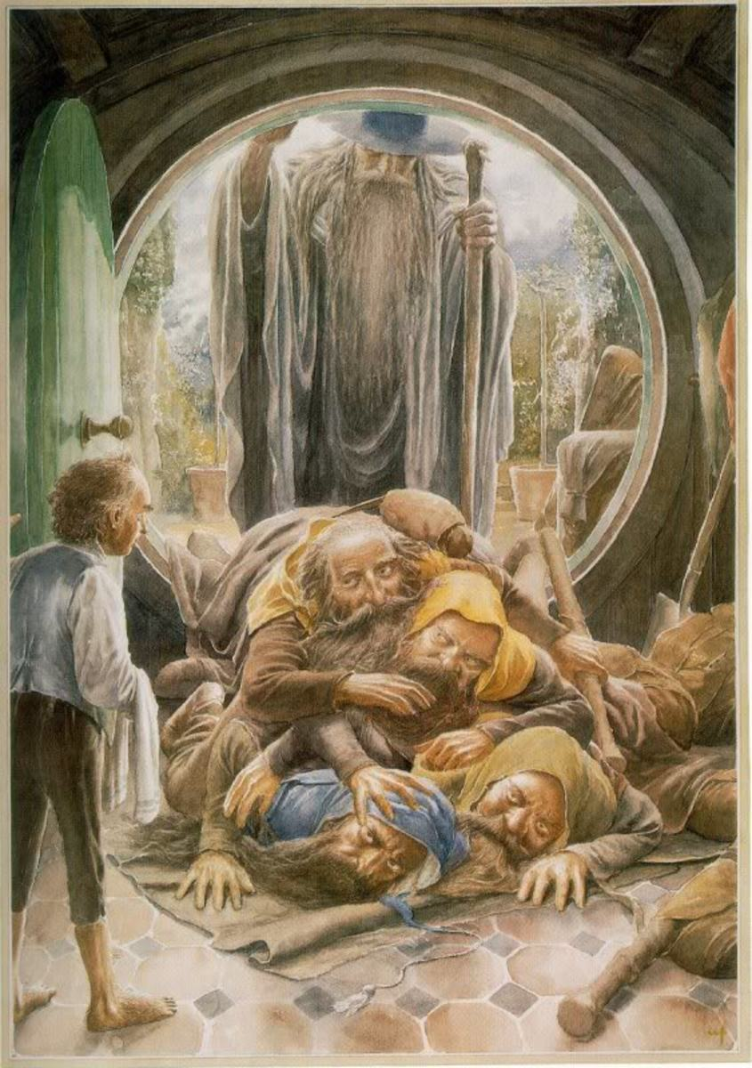 Bilbo and the Dwarves - Art by Alan Lee