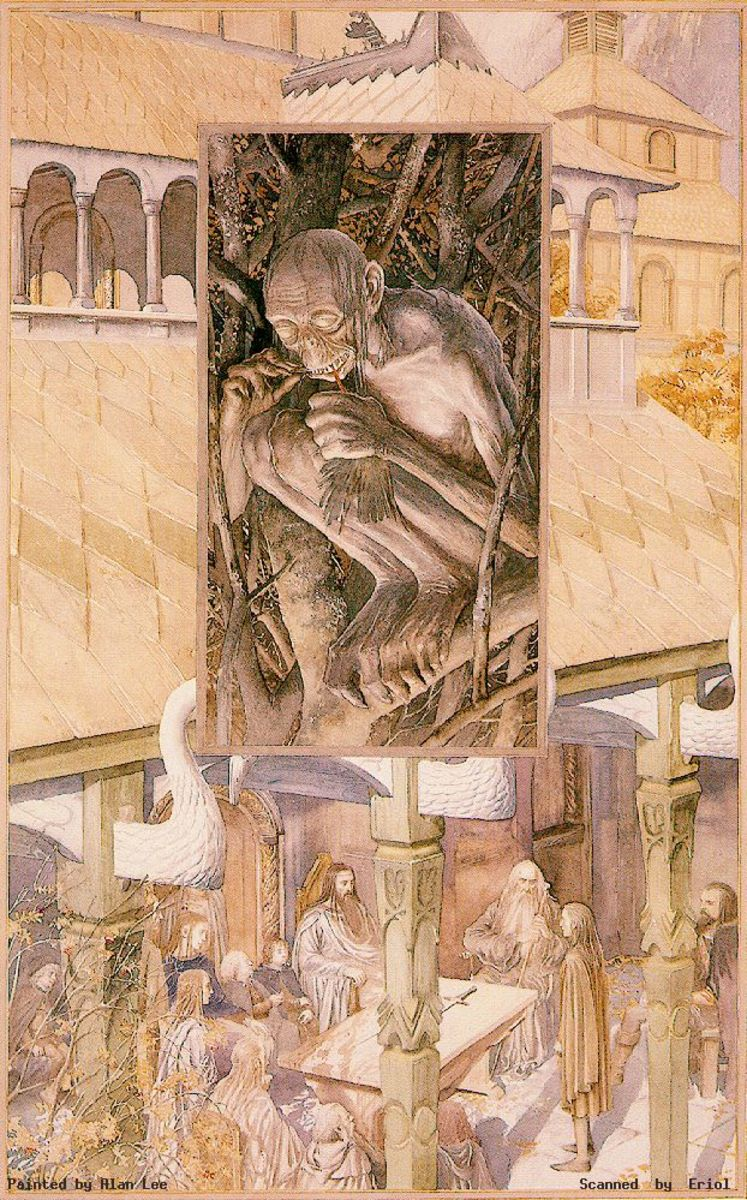 Gollum and Council of Elrond - Art by Alan Lee