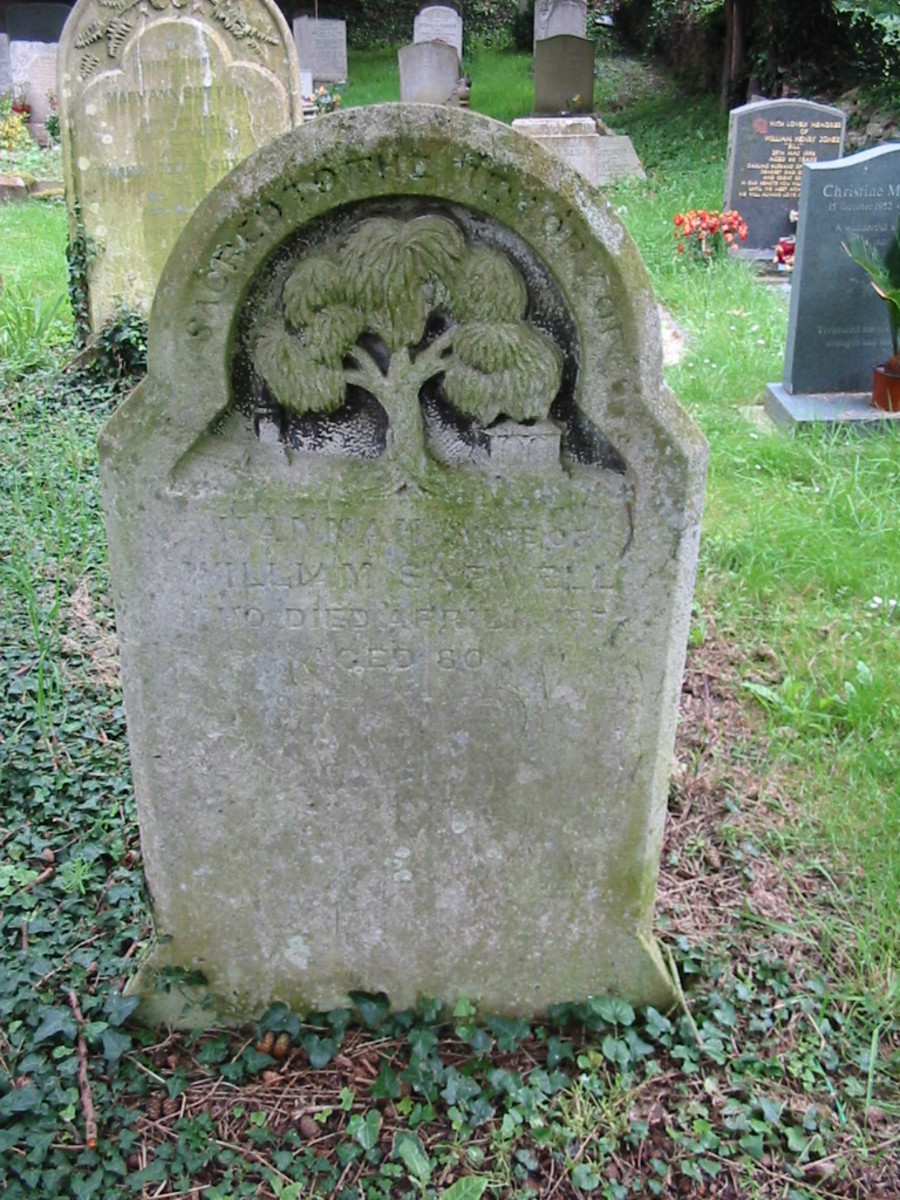 Hannah Sapwell died April aged 80 years (unfortunately the rest of the inscription has been eroded) buried in St. Andrews Church, Great Linford, Milton Keynes, Buckinghamshire, England