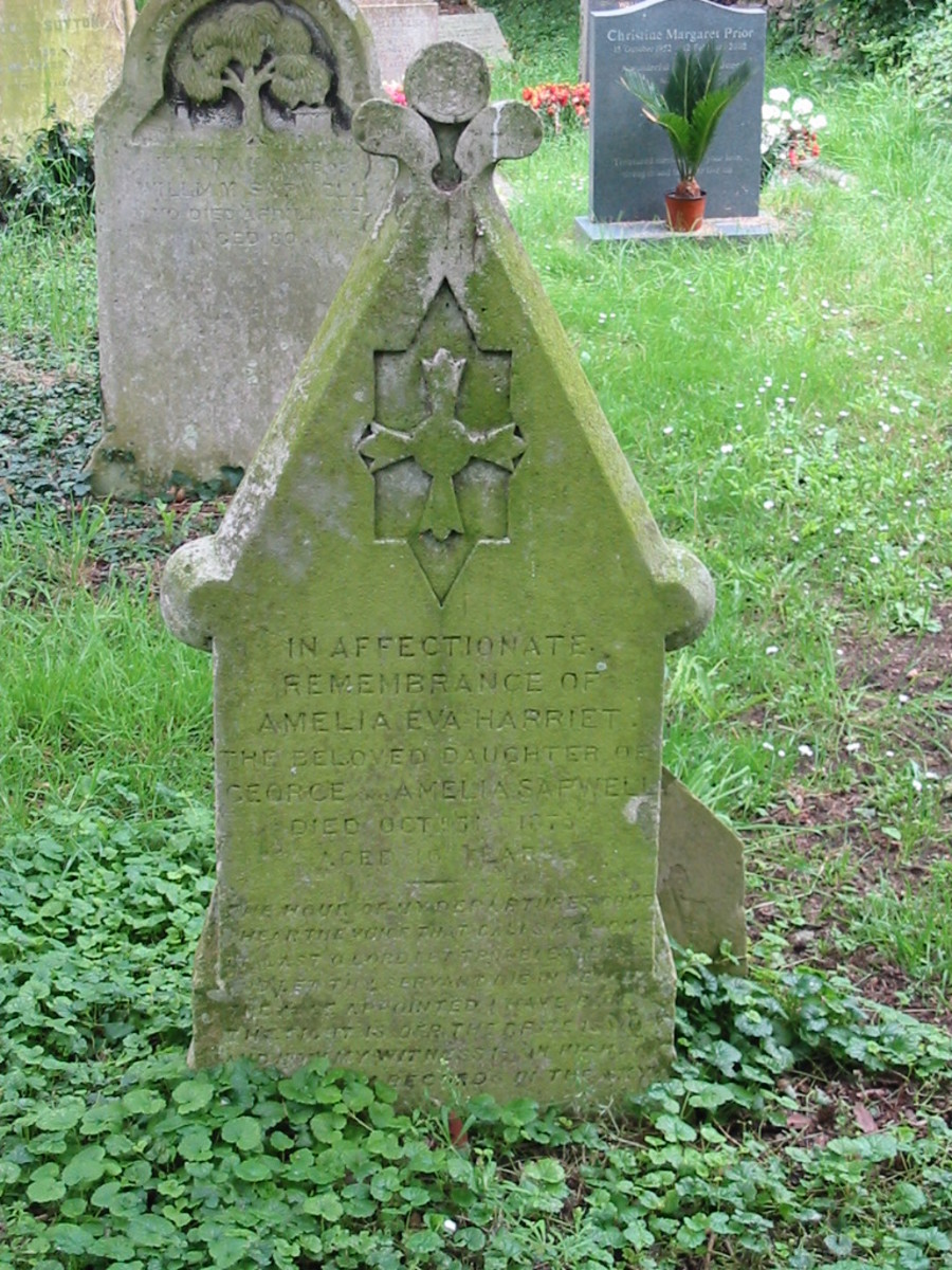 Amelia Eva Harriet Sapwell died 5 Oct 1876 aged 16 years buried in St. Andrews Church, Great Linford, Milton Keynes, Buckinghamshire, England