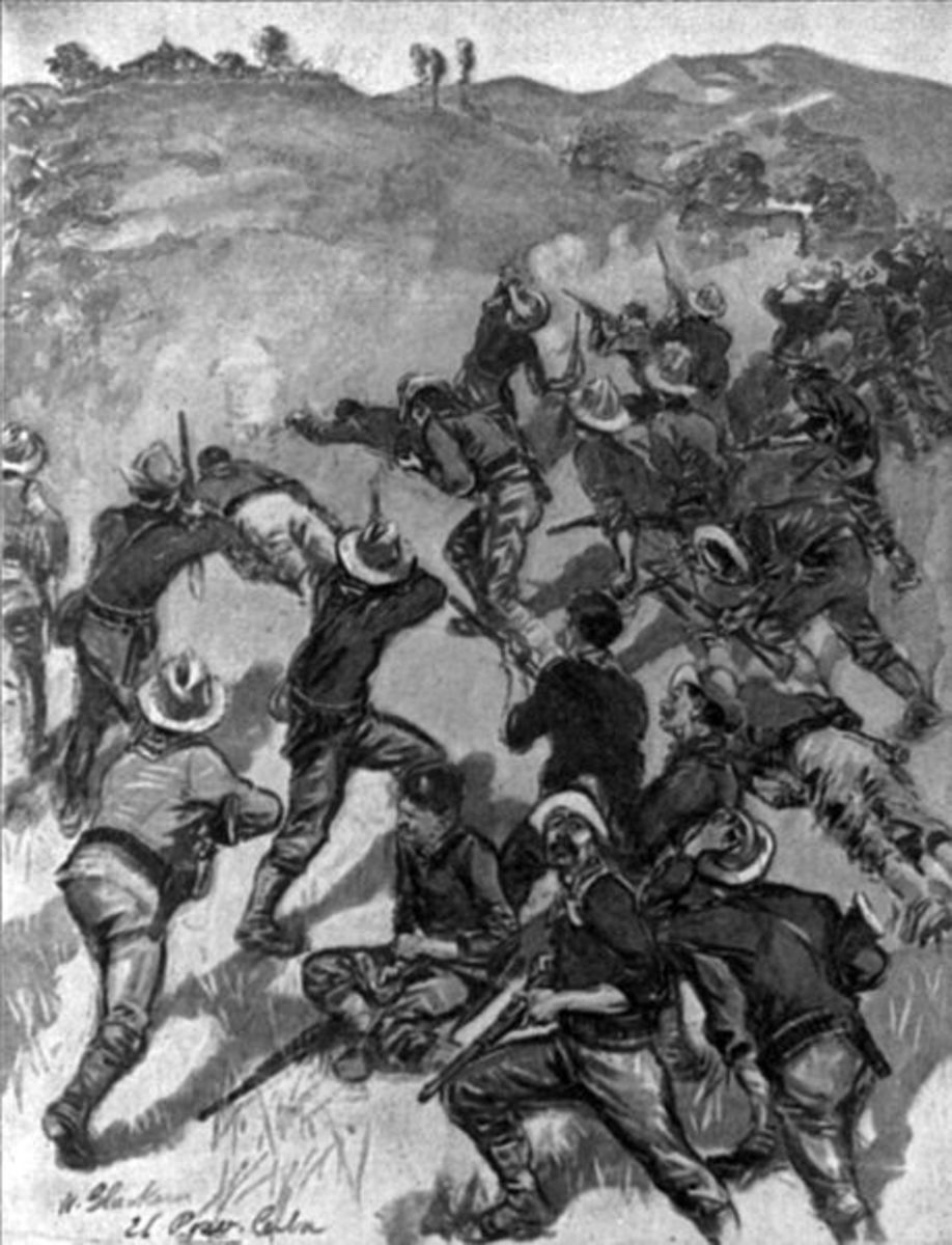 "An llustration in McClure's Magazine, 1898 Oct., p. 507.""The Fight for Santiago. The ""Rough Riders"" charging up the San Juan Hill, July 1st, and driving the Spanish from their intrenchments""  Example of ""yellow Journalism"""