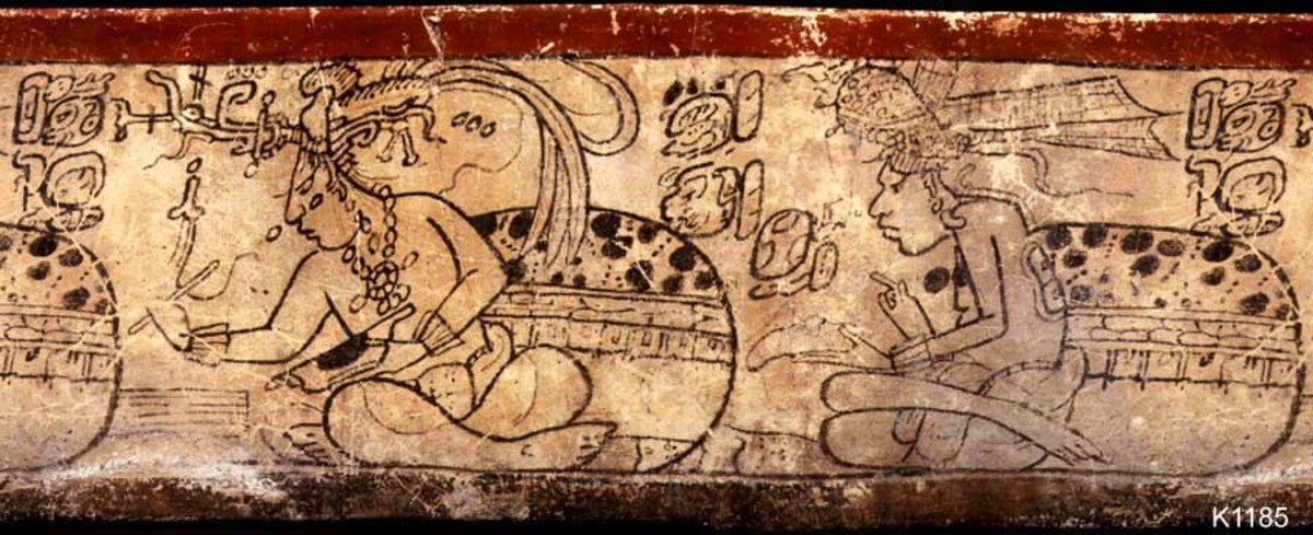 Maya scribes working on their codices.
