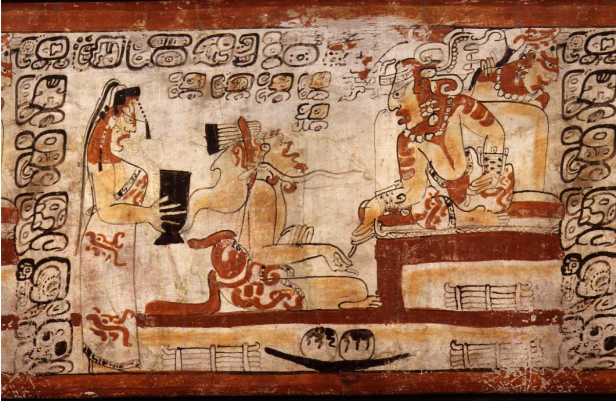 Maya scribe kneeling before a ruler.