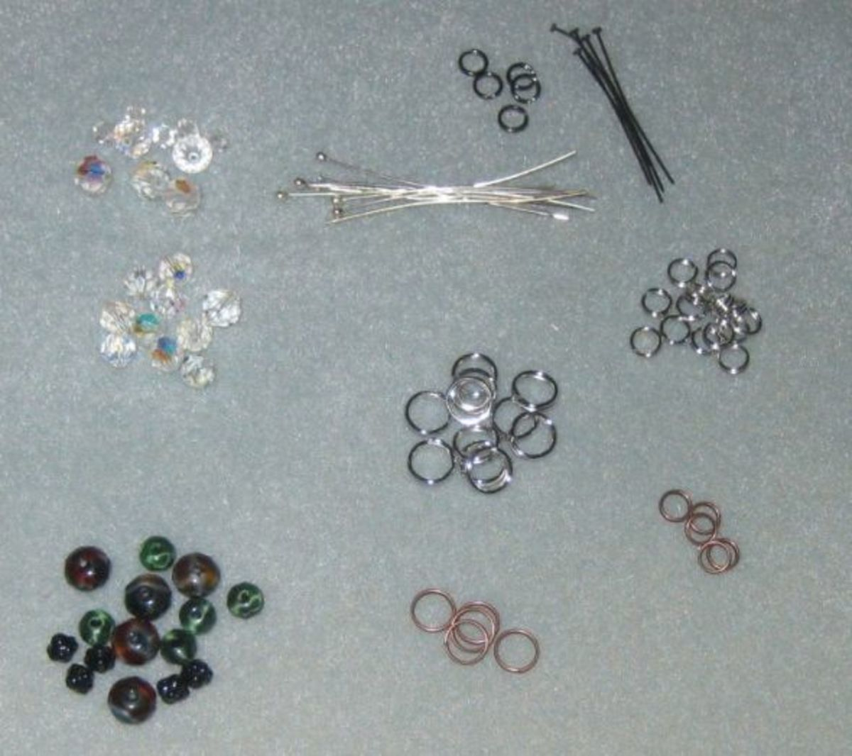 Supplies needed for making stitch markers:  split rings (those little circles that look like key rings), headpins, and beads. All photos here by Peggy Hazelwood.